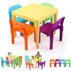 Kids Plastic Table and 4 Chairs Set Rainbow Play Set Vibrant Colors