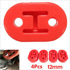4pcs Car Rubber Exhaust Hanger Pipe Mounting Bracket 12mm 2Holes Red Universal
