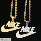 Nike Swoosh Pendant Charm With Chain Gold Silver Necklace  FREE 24HR Shipping