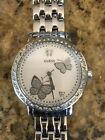GUESS G86013L WOMEN'S SILVER TONE CRYSTAL BUTTERFLIES DIAL WATCH/New Battery!
