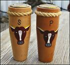Vtg WESTERN Wooden SALT  PEPPER SHAKERS Unique Lid LQQK Cow Steer Rope 5TALL