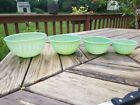 4 PC Fire King Jadeite Swirl Pattern Mixing Bowl Set With RARE 5