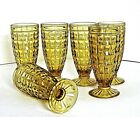 Amber Glass Footed Ice Tea Tumblers Beaded Medallion Dewdrop? 6pcs Vtg Rare