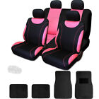 New Sleek Black and Pink Flat Cloth Seat Covers With Mats Set For Jeep