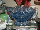 Vintage L.E. Smith Colonial Blue Moon and Stars Footed Compote Candy Dish Bowl