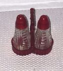Vintage retro Clear and Ruby Red Glass Salt Pepper shakers with matching holder