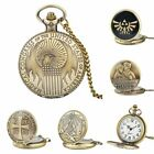 Bronze Quartz Movement Steampunk Antique Pocket Watch Chain Necklace Mens Women