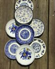 8 Vintage Mismatched China Transferware Blue And White Dessert Plates 170