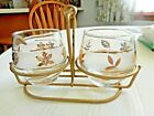 3 pc Vintage Libbey GLASS Gold Leaf CREAM PITCHER SUGAR BOWL W/ HOLDER VG Cond