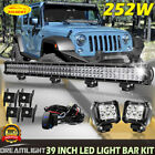 252W 39INCH Bumper Led Light Bar For Jeep Wrangler JK With 4 Pods + Wiring Kit