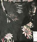New Sonoma Black w Pink Floral Tee Top Shirt Short Sleeves V neck Womens Sz 4X