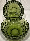 """ COLONY WHITEHALL GLASS OLIVE AVOCADO GREEN DESSERT BOWL"