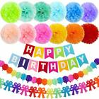 12 Colors 15x Birthday Party Decorations 10 Paper Pom b55 Bunting Banner