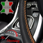 BLACK LEATHER STEERING WHEEL COVER FOR VOLVO TRUCK 780 WITH DOUBLE ORANGE STITCH