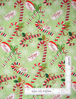 Christmas Happy Holidays Candy Cane Toss Green Cotton Fabric Santee By The Yard