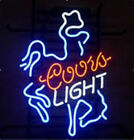New Coors Cowboy Neon Light Sign 17x14 Beer Cave Bar Real Glass Artwork