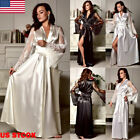 Sexy Lingerie Women Silk Lace Robe Dress Satin Nightdress Nightgown Sleepwear G