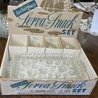 VINTAGE ANCHOR HOCKING SNACK SET~SERVA-SNACK~4 PLACE SETTING~CLEAR