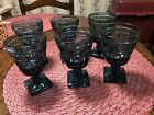 Set of 6 Vintage Indiana Glass Colony Park Lane Blue Goblets 4 1/2