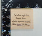Stampin Up A Baby Is A Gift From Heaven Above Bringing Joy Down Rubber Stamp
