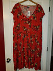 TORRID Red Orange Flower Skate Dress sz 4 NWT