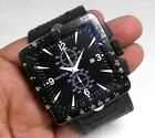 Nautica Chronograph Japan Date Square Jumbo 45mm Case Black Dial Mens Rare Watch