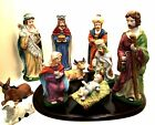 Christmas Nativity Set Porcelain Bisque Wooden Display Base 11 Pieces 9 in Tall