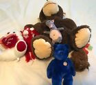 Peek-A-Boo/Cuddly Cousins Monkeys-I Love You V-Day Bear-TY Beanie Babies-Sesame