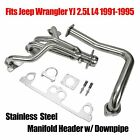 Fits Jeep Wrangler YJ 25L L4 Stainless Manifold Header w Downpipe 91 95 New