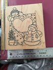 Darcies Large Rubber Stamp Snowman Frame Winter Holiday Christmas ZZ3854