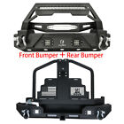 Fit 87 06 TJ Jeep Wrangler Front and Rear Bumper with Oil Drum Rack Bar + Winch