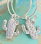 Etched Silver Cactus with Flower Blossom Earrings Bloom