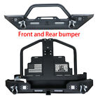 For 87 06 TJ Jeep Wrangle Front and Rear Bumper w Oil Drum Rack Bar + LED Lights