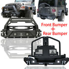 For 87 06 TJ Jeep Wrangler Front and Rear Bumper Guard w Tire Carrier LED Lights