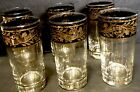 Culver Glass Gold And Black glasses Tumbler Highball and Ice tea Collins Set 6