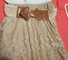 HIGH-LO BEIGE LACE DRESS WITH BELT SIZE LARGE