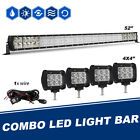 52 4ROWS LED Light Bar+4x 18W Pods+ Mount Bracket Fit For Jeep Wrangler JK 50