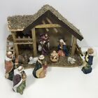 Holiday Home Nativity Scene Porcelain Hand Painted Wood Stable Christmas 10 Pc