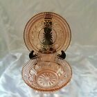 Dark Pink Windsor Button And Cane Mayonnaise Bowl and under plate Federal Glass