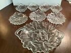 4 Vintage 1940s Indiana Glass Clear Embossed Wild Rose Berry Fruit Dessert Bowls
