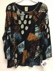 Jess and Jane Dottie Black Multi Color Shirt Size Made in USA New with Tags
