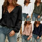 US Women Ladies Summer Lace Long Sleeve Blouse Casual Loose T Shirt Tops Hot