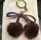NWT Kate Spade Key Fob Bow Pom-Pom Leather Keychain Purse Charm Deep Plum