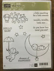 Stampin Up retired MOON BABY cm stamps Hello baby shower sentiments stars