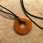Red Stone Donut Circle Pendant Necklace  Cord 15