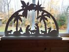 Wood Arch Xmas Nativity Manger Silhouette Outdoor Indoor Yard w Animals 36 x 23