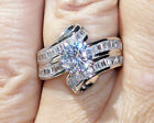 925 Sterling Silver Womens Ring Round Cut With Channel Set Baguettes CZ