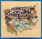 Fawn and Flowers Rubber Stamp by Stampa Rosa Baby Deer Lying Down on Daisies