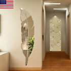 3D DIY Removable Feather Mirror Wall Stickers Art Vinyl Decal Room Home Decor