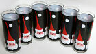 Vtg 6 Santa Tall Glass Set Black Tom Collins Xmas Lot Set Mod Libbey Holt Howard